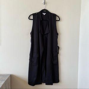 BB Dakota-Long Lightweight  Lace Up-Slit Side Sleeveless Vest